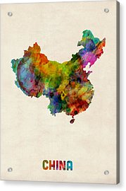 China Watercolor Map Acrylic Print by Michael Tompsett