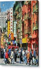 Chinatown In New York Acrylic Print by George Atsametakis