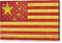 Chinese American Flag Blend Acrylic Print by Tony Rubino