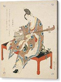 Chinese Beauty Playing The Shamisen Acrylic Print by Katsushika II Taito