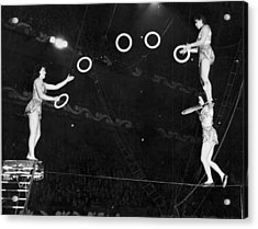Chinese Family Tightrope Act Acrylic Print by Underwood Archives