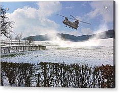 Chinook In Snow Dust Acrylic Print by Nop Briex
