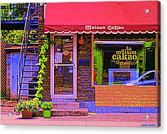 Chocolate Shop La Maison  Cakao Chocolaterie Boulangerie Patisserie Rue Fabre Montreal  Cafe Scene  Acrylic Print by Carole Spandau