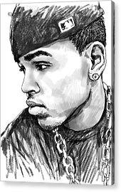 Chris Brown Art Drawing Sketch Portrait Acrylic Print by Kim Wang