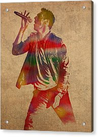 Chris Martin Coldplay Watercolor Portrait On Worn Distressed Canvas Acrylic Print by Design Turnpike