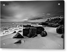 Chris's Rock 2013 Black And White Acrylic Print by Peter Tellone