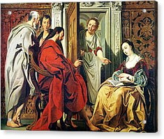 Christ At The House Of Martha And Mary Of Bethany Oil On Canvas Acrylic Print by Jacob Jordaens