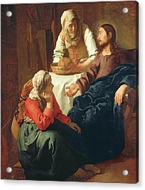 Christ In The House Of Martha And Mary Acrylic Print by Jan Vermeer