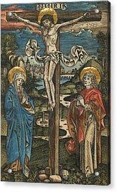 Christ On The Cross With Mary And Saint John Acrylic Print by German School