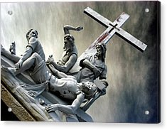 Christ On The Cross With Mourners Saint Joseph Cemetery Evansville Indiana 2006 Acrylic Print by John Hanou