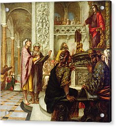 Christ Preaching In The Temple Acrylic Print by Juan de Valdes Leal