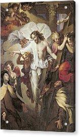 Christ Resurrected Between St Teresa Of Avila Acrylic Print by Michel des Gobelins Corneille