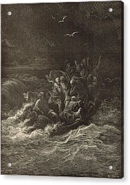 Christ Stilling The Tempest Acrylic Print by Antique Engravings
