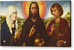 Christ The Redeemer With The Virgin And St. John The Evangelist, Central Panel From The Triptych Acrylic Print by Rogier van der Weyden