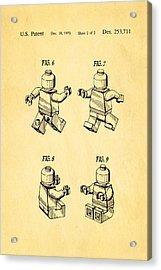 Christiansen Lego Figure 3 Patent Art 1979 Acrylic Print by Ian Monk