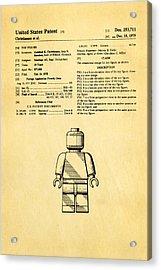 Christiansen Lego Figure Patent Art 1979 Acrylic Print by Ian Monk