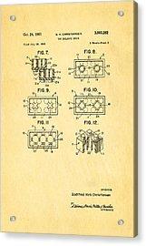 Christiansen Lego Toy Building Block Patent Art 2 1961 Acrylic Print by Ian Monk