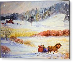 Snow Scenes In Watercolors Acrylic Print featuring the painting Christine's Ride by Marilyn Smith
