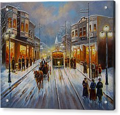 Christmas Atmosphere In A Small Town America In 1900 Acrylic Print by Regina Femrite