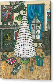 Christmas Card Drawing Acrylic Print by Richie Montgomery