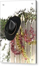 Christmas Cowboy Hat On A Fence Acrylic Print by Olivier Le Queinec