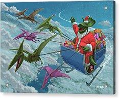 Christmas Dinosaur Santa Ride Acrylic Print by Martin Davey