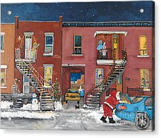 Christmas In The City Acrylic Print by Reb Frost