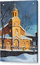 Christmas Magic In The Mountain Acrylic Print by Kiril Stanchev