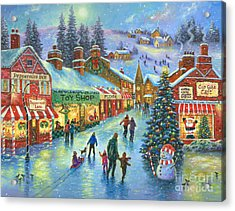 Christmas On Peppermint Lane Acrylic Print by Vickie Wade