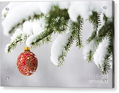 Christmas Ornament In The Snow Acrylic Print by Diane Diederich