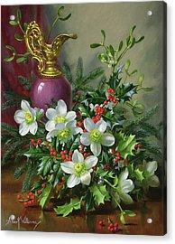 Christmas Roses Acrylic Print by Albert Williams