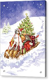 Christmas Sleigh Ride Dog And Cat Acrylic Print by Caroline Stanko