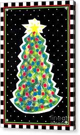 Christmas Tree Polkadots Acrylic Print by Genevieve Esson