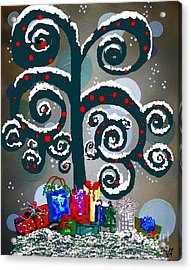 Christmas Tree Swirls And Curls Acrylic Print by Eloise Schneider