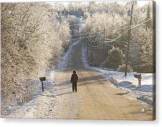 Christmas Walk In Maine Acrylic Print by Alan Holbrook