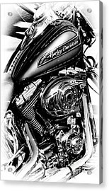 Chromed Harley Monochrome Acrylic Print by Tim Gainey