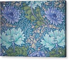 Chrysanthemums In Blue Acrylic Print by William Morris