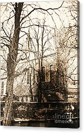 Church On Canal In Brugge Belgium Acrylic Print by PainterArtist FINs husband Maestro