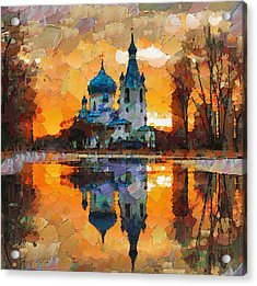 Church Sunset Acrylic Print by Yury Malkov