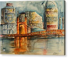 Cincinnati At Dusk Acrylic Print by Elaine Duras