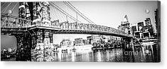Cincinnati Bridge Retro Panorama Photo Acrylic Print by Paul Velgos