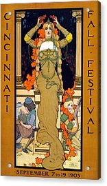 Cincinnati Fall Festival September 7 To 19 1903 Poster For The Festival Showing A Woman Seated  Acrylic Print by Hugo Grenville