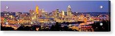 Cincinnati Skyline At Dusk Sunset Color Panorama Ohio Acrylic Print by Jon Holiday