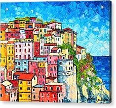 Cinque Terre Italy Manarola Colorful Houses  Acrylic Print by Ana Maria Edulescu