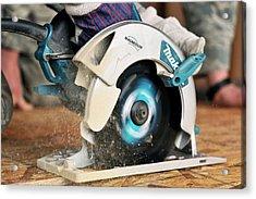 Circular Saw Cutting Board Acrylic Print by Us Air Force/bill Evans