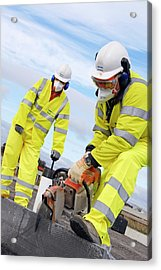Circular Saw Operators Acrylic Print by Crown Copyright/health & Safety Laboratory Science Photo Library