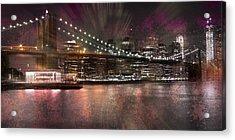 City-art Brooklyn Bridge Acrylic Print by Melanie Viola