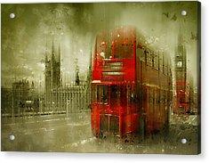 City-art London Red Buses Acrylic Print by Melanie Viola