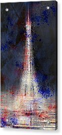 City-art Paris Eiffel Tower In National Colours Acrylic Print by Melanie Viola