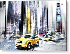City-art Times Square II Acrylic Print by Melanie Viola